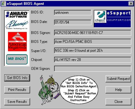 Внешний вид окна программы по определению BIOS