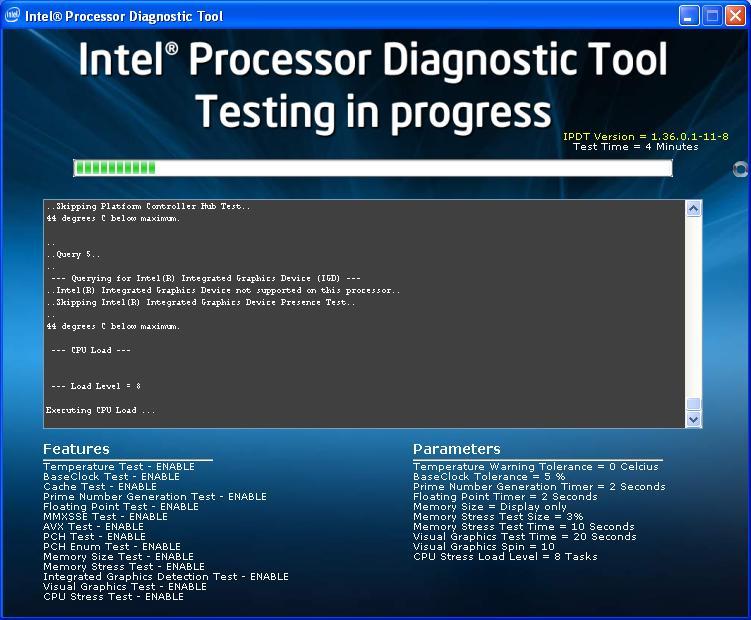 Окно программы тестирвоания процессора